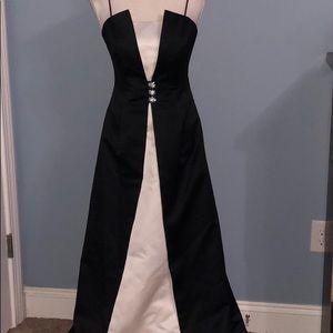 Michaelangelo black & white evening prom gown